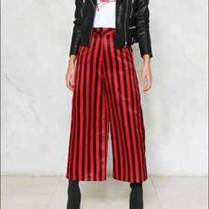 Nasty Gal red and black striped wide leg pant